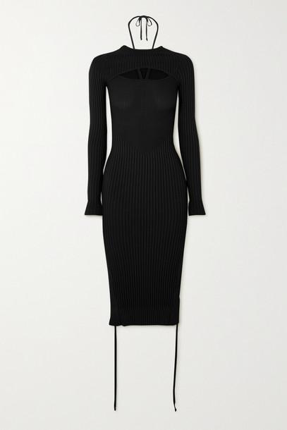 ANDREA ADAMO - Cutout Ribbed-knit Midi Dress - Black