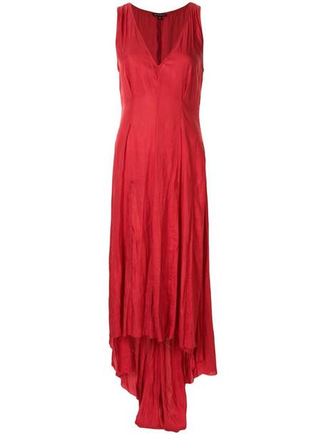 Ann Demeulemeester deep V-asymmetric dress in red