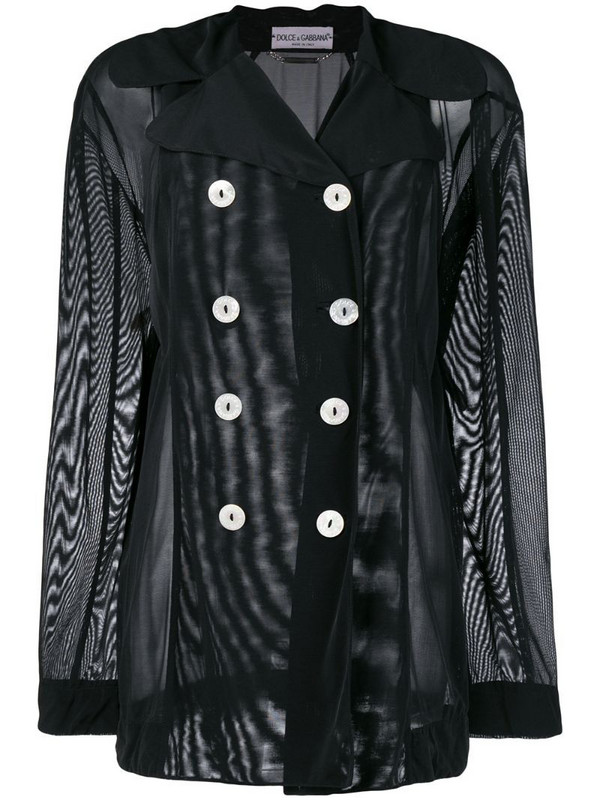 Dolce & Gabbana Pre-Owned sheer double-breasted jacket in black