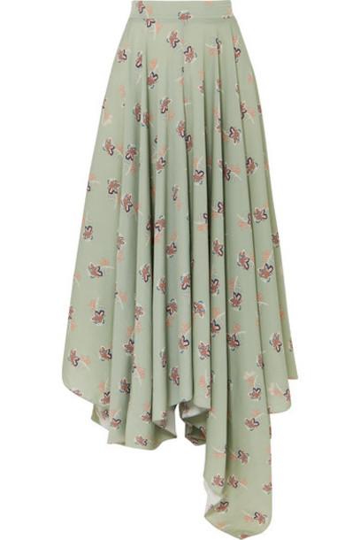 Loewe - Paula's Ibiza Asymmetric Floral-print Crepe De Chine Maxi Skirt - Green