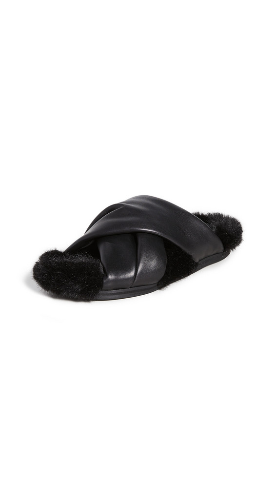 Simone Rocha Cross Strap Slides with Fur Lining in black