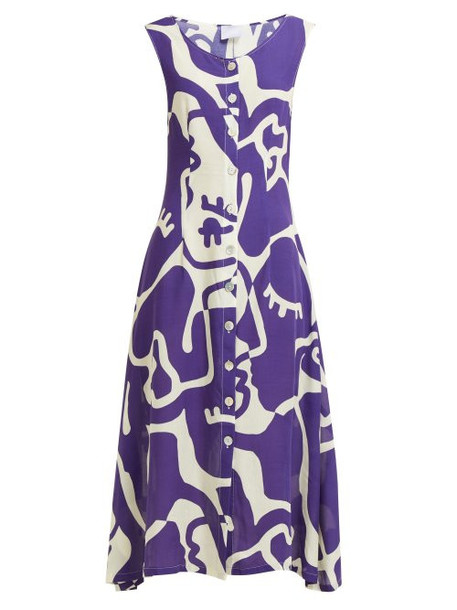Bower - Jane Abstract Print Midi Dress - Womens - Blue Print