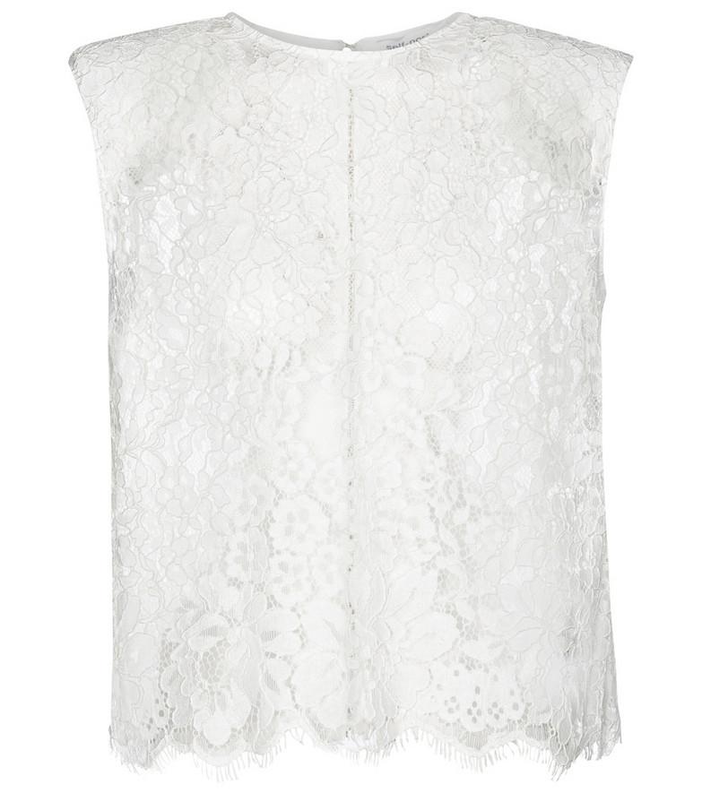Self-Portrait Guipure-lace top in white