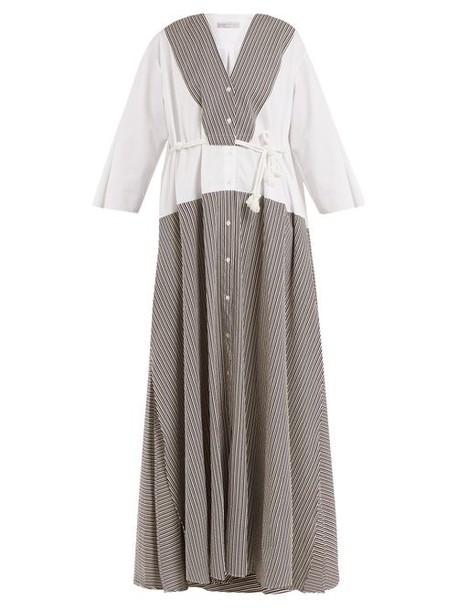 Palmer/harding Palmer//harding - Contrast Panel Seersucker Dress - Womens - Brown Multi