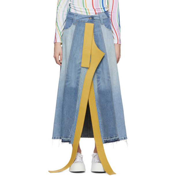 Lecavalier Blue Denim Leather Appliqué Skirt