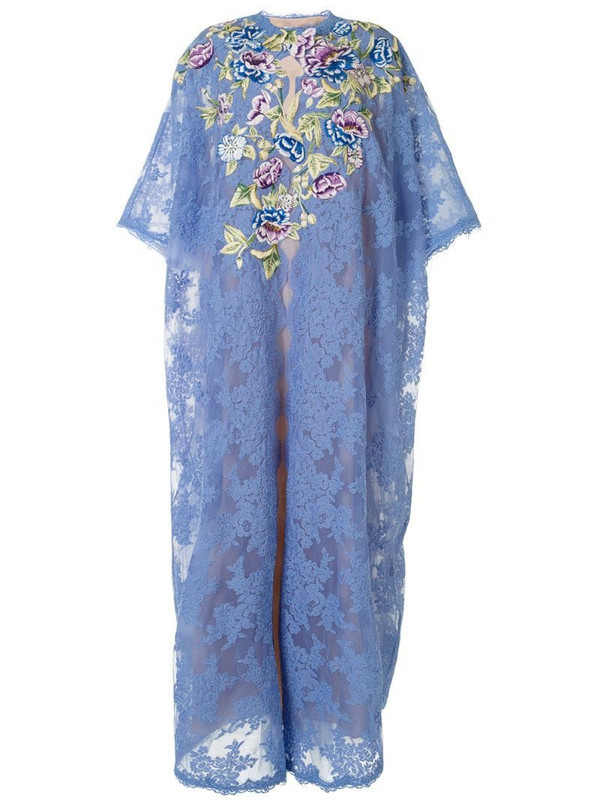 Marchesa embroidered floral kaftan in blue