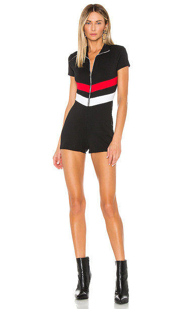 superdown Tanya Zip Front Romper in Black