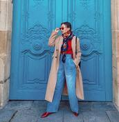 jeans,high waisted jeans,wide-leg pants,red boots,long coat,camel coat,sweater,scarf,shoulder bag