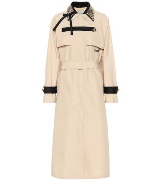 Prada Embellished trench coat in beige