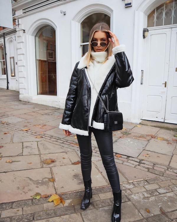 jacket black jacket vinyl ankle boots black boots black leather pants white sweater turtleneck sweater black bag