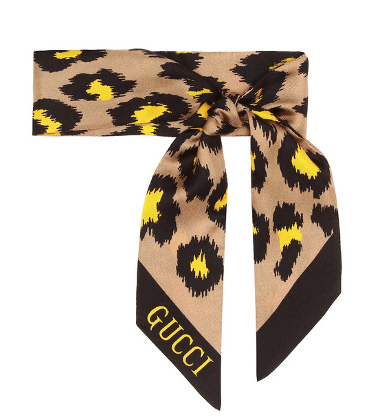 Gucci Printed silk scarf in beige