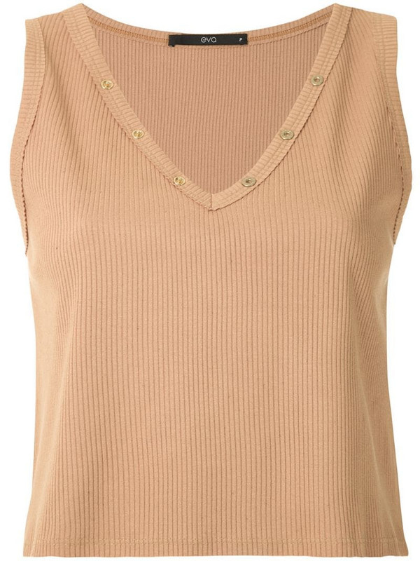 Eva buttoned rib tank top in brown
