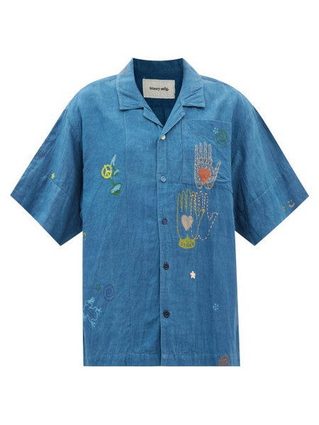 Story mfg. Story Mfg. - Greetings Organic Cotton-blend Short-sleeve Shirt - Womens - Blue Multi