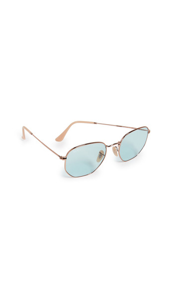Ray-Ban RB3548N Hexagonal Evolve Round Sunglasses in blue
