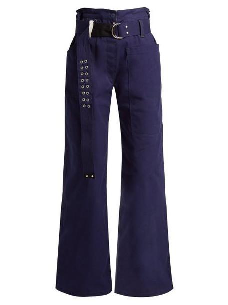 La Fetiche - David Wide Leg Cotton Canvas Trousers - Womens - Navy