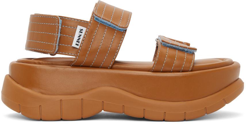 Sunnei Tan Leather Low Platform Sandals in beige