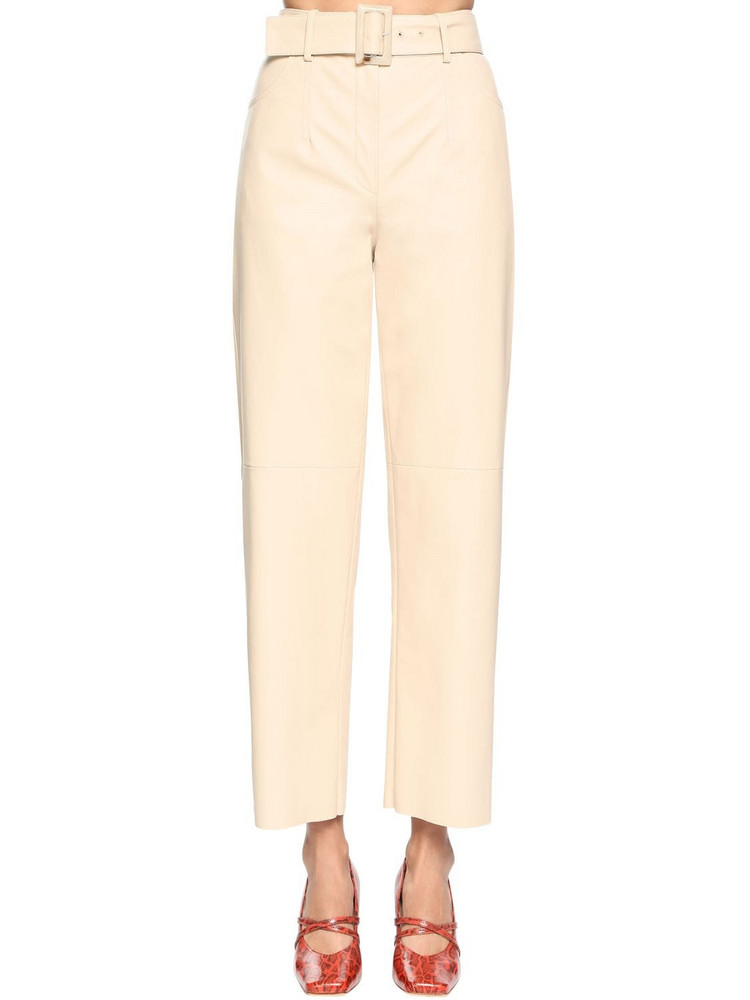 DROME High Waist Leather Wide Leg Pants in ivory