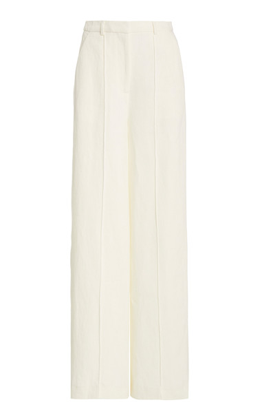 Loulou Studio Reao Linen Wide-Leg Pants in white