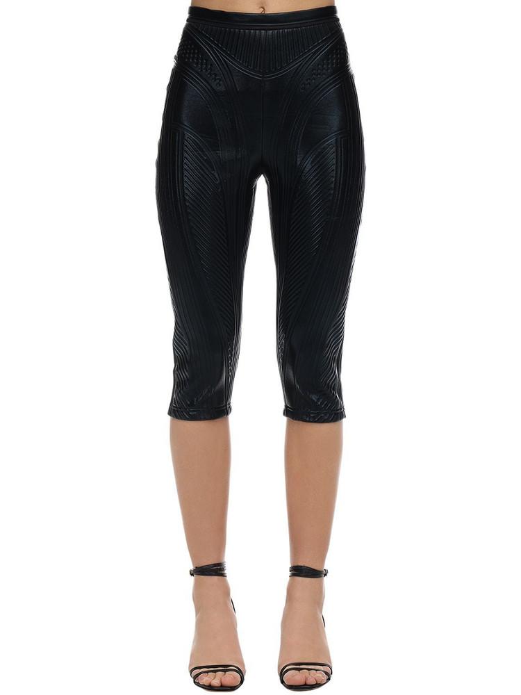 MUGLER Embossed Shiny Jersey Biker Pants in black