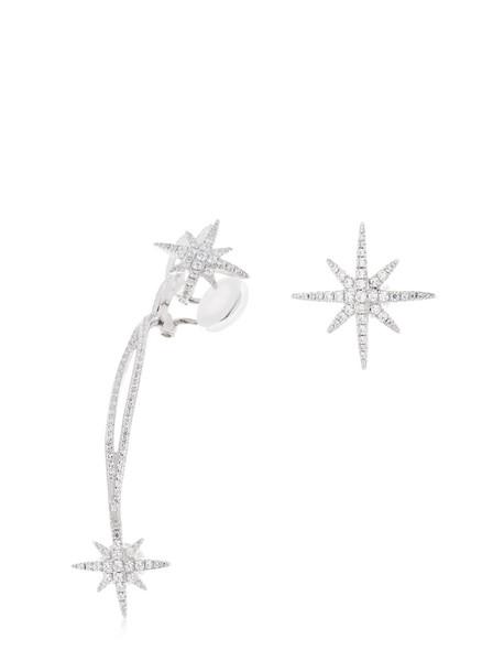 APM MONACO Meteorites Stud Earrings W/ Ear Jacket in silver