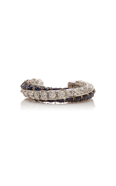 TULLIA 14K White Gold Diamond And Sapphire Ear Cuff in blue
