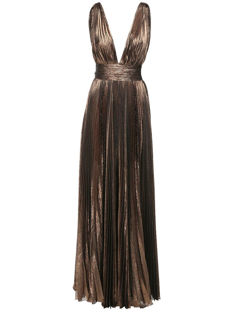 ROBERTO CAVALLI Pleated Lamé Chiffon Long Dress