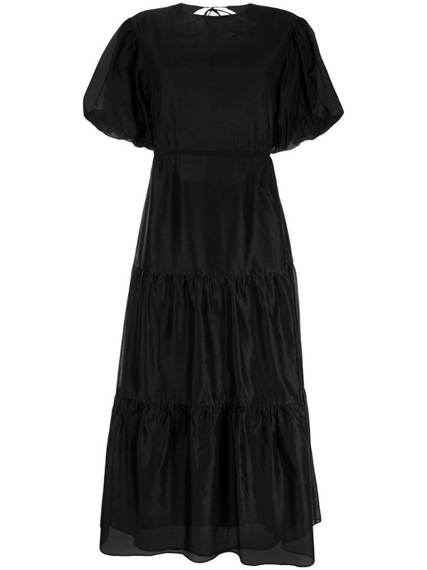 Sir. open-back tiered dress in black