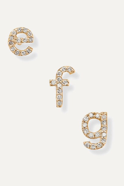 STONE AND STRAND - Alphabet 14-karat Gold Diamond Earring