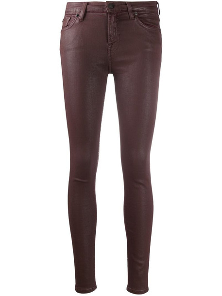 7 For All Mankind coated skinny jeans in purple