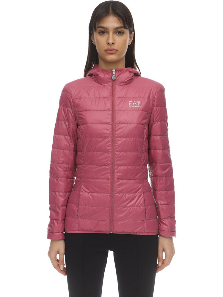 EA7 EMPORIO ARMANI Train Core Hooded Light Down Jacket in pink