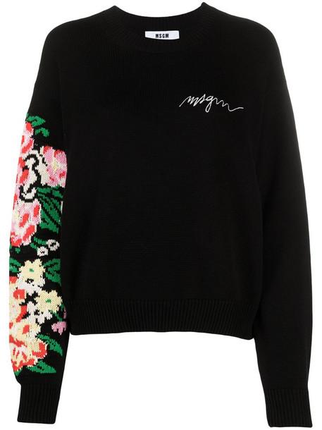 MSGM intarsia-knit floral jumper in black