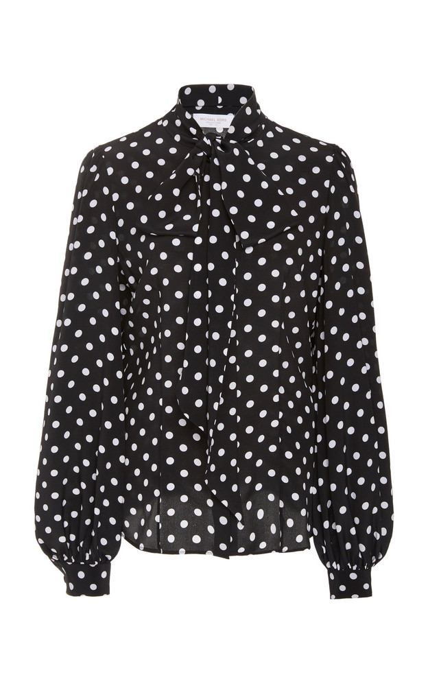 Michael Kors Collection Pussy-Bow Polka-Dot Silk Blouse Size: 0 in multi