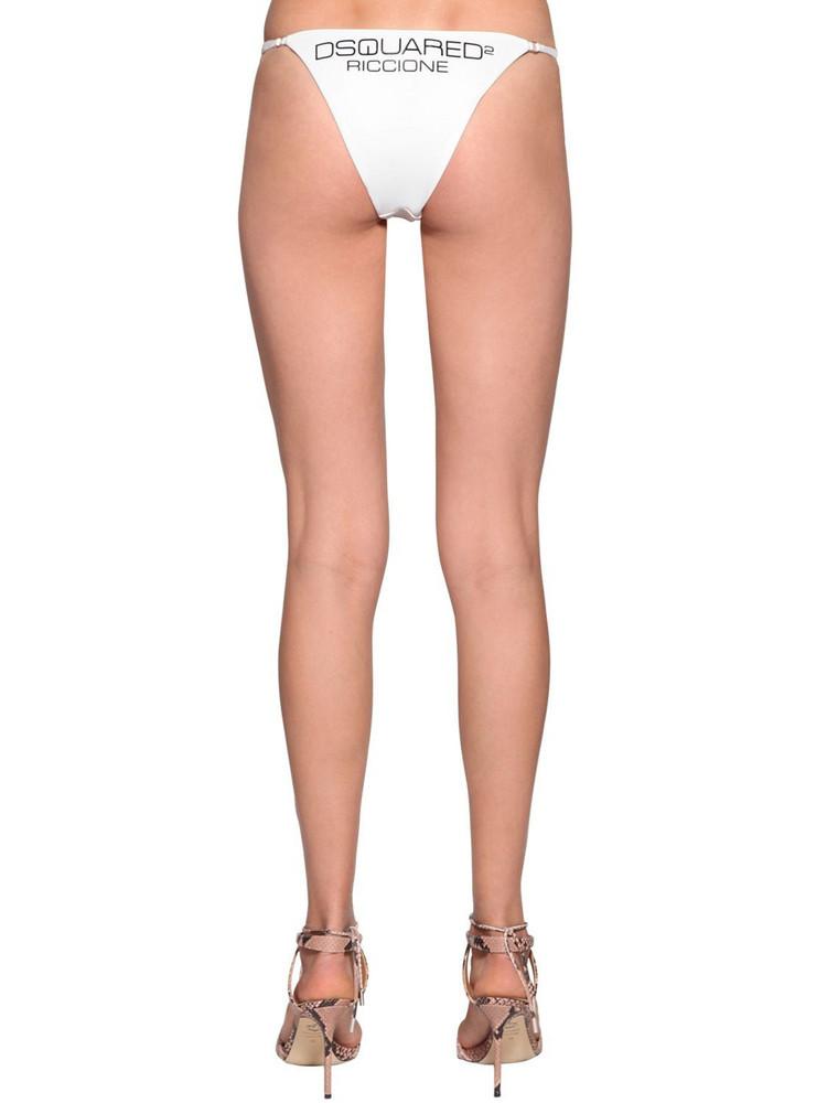 DSQUARED2 Printed Lycra Bikini Bottoms in white
