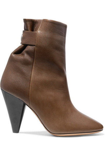 Isabel Marant - Lystal Leather Ankle Boots - Brown