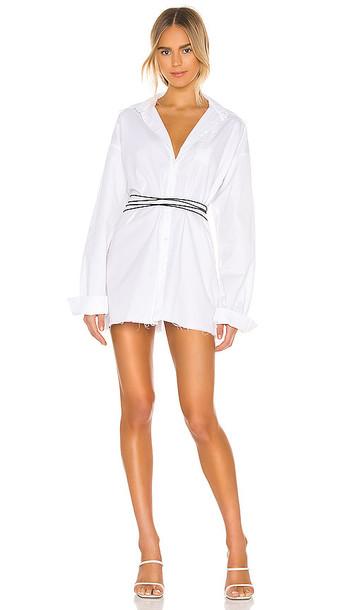 DANIELLE GUIZIO Distressed Button Down Dress in White