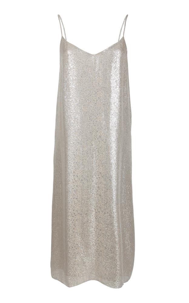 Marie France Van Damme Metallic Cotton-Silk Knee-Length Dress in neutral