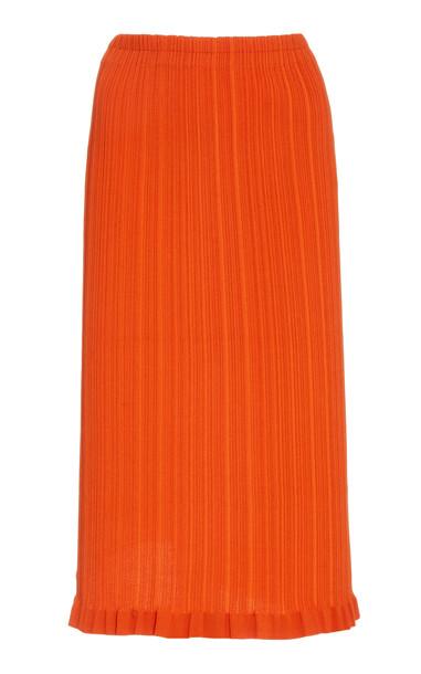 Acne Studios Kora Ribbed Cotton-Blend Knee-Length Skirt in red