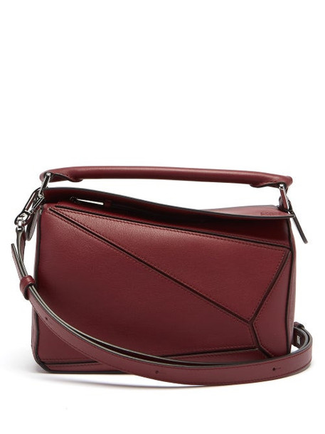 Loewe - Puzzle Small Leather Cross-body Bag - Womens - Burgundy