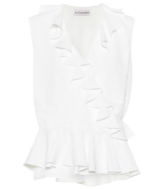 Altuzarra Depeche ruffled silk-blend top in white