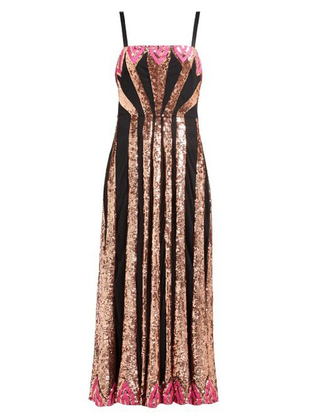 Temperley London - Sycamore Sequinned Mesh Dress - Womens - Black Pink