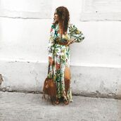 bag,brown bag,maxi dress,long sleeve dress,slit dress