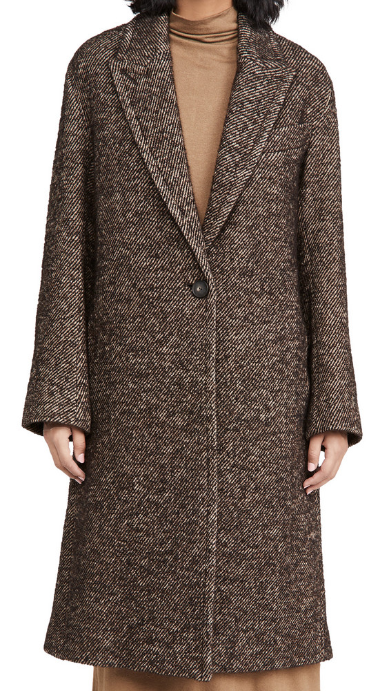 Vince Twill Coat in chocolate