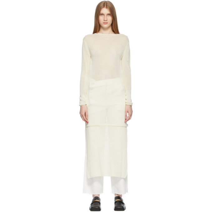 ADER error Beige Knit Salan Dress in ivory