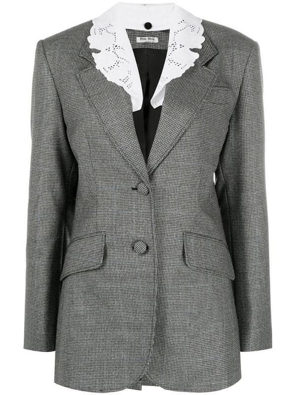 Miu Miu single-breasted houndstooth jacket in grey