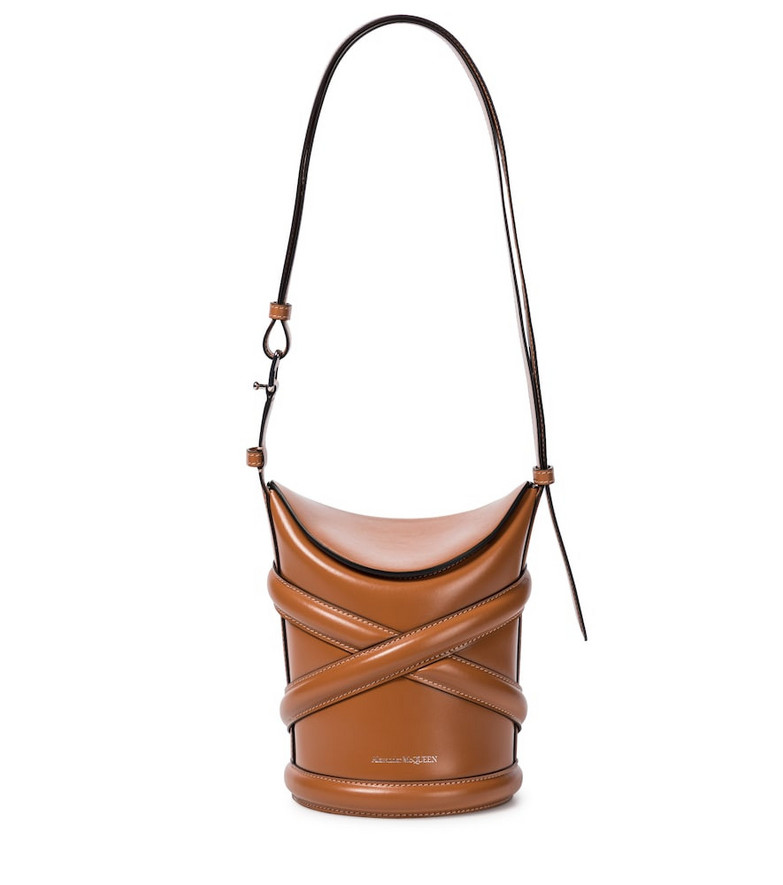 Alexander McQueen The Curve Small leather shoulder bag in brown