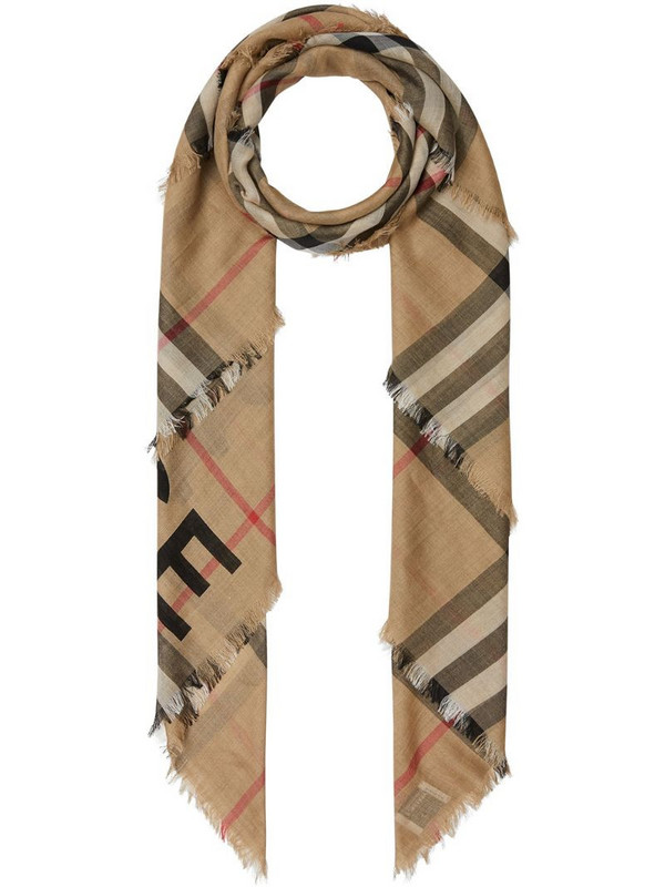 Burberry check print knitted scarf in neutrals