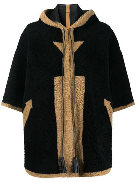 Blancha shearling cape coat in black