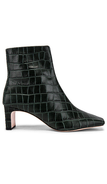 Schutz Tiliane Croco Bootie in Dark Green