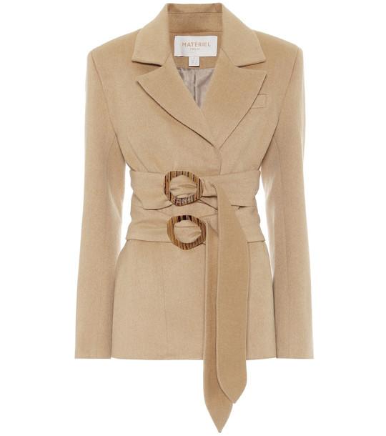 Matériel Tbilisi Double-belted wool-blend blazer in beige