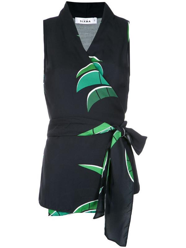 Amir Slama tropical print wrap style blouse in black